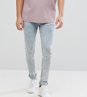 ASOS Синие выбеленные джинсы скинни TALL. Цвет: синий