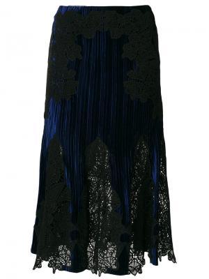 Плиссированная юбка с кружевной вставкой Jonathan Simkhai. Цвет: синий