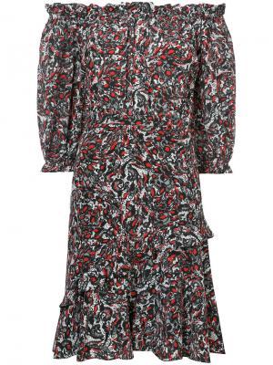 Платье с цветочным узором и сборками Saloni. Цвет: чёрный