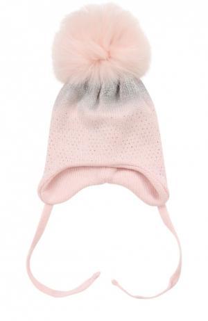Шапка с меховым помпоном и декоративной отделкой Il Trenino. Цвет: розовый