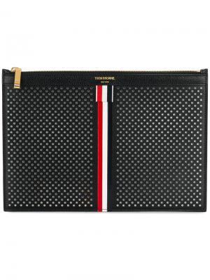 Чехол для планшета на молнии с полосками Thom Browne. Цвет: чёрный