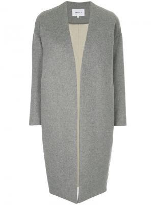 Однобортное пальто без воротника Enföld. Цвет: серый