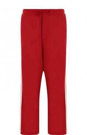 Хлопковые брюки свободного кроя с заниженной линией шага Y-3. Цвет: красный
