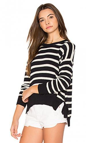 Полосатый свитер с асимметричным подолом Autumn Cashmere. Цвет: синий