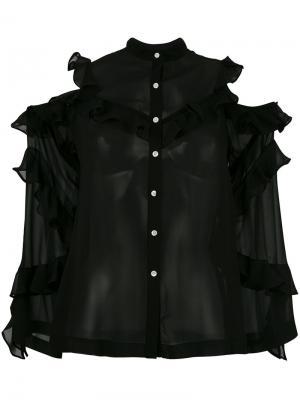 Рубашка с открытыми плечами и оборками Robert Rodriguez. Цвет: чёрный