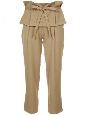 Укороченные брюки с высокой талией многослойным эффектом Guild Prime. Цвет: коричневый