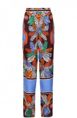 Шелковые брюки прямого кроя с контрастным принтом Emilio Pucci. Цвет: синий