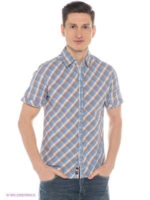 Рубашка Mavango. Цвет: синий, бежевый