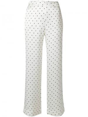 Пижамные брюки в горошек Asceno. Цвет: белый