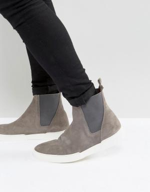 Zign Замшевые кроссовки-ботинки челси. Цвет: серый