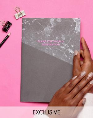 OHH DEER Розовый блокнот формата A4 с мраморным принтом. Цвет: мульти