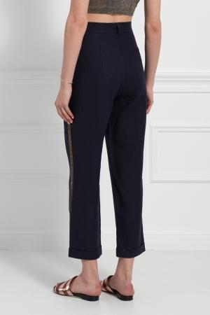 Льняные брюки Tegin. Цвет: синий
