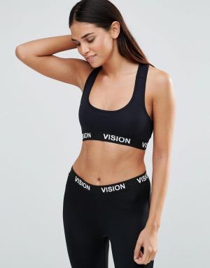 Vision Streetwear Укороченный топ в рубчик. Цвет: черный