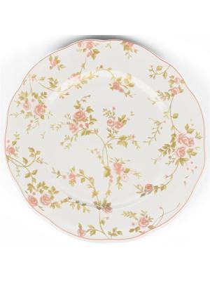 Блюдо круглое 31см Садовая роза Quality Ceramic. Цвет: белый