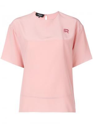 Блузка с вышивкой Rochas. Цвет: розовый и фиолетовый