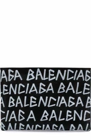 Кожаный клатч Carry Clip M Balenciaga. Цвет: черный