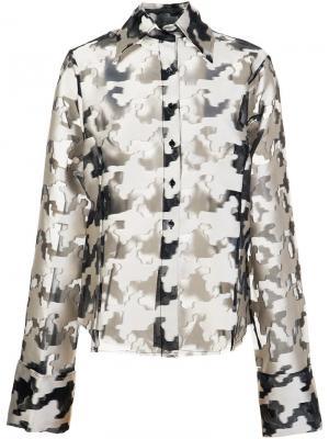 Рубашка с узором в ломаную клетку Marquesalmeida Marques'almeida. Цвет: чёрный
