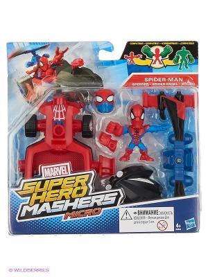 Набор Микро-Фигурка и  Машина Марвел Hasbro. Цвет: красный, лазурный, лиловый, синий