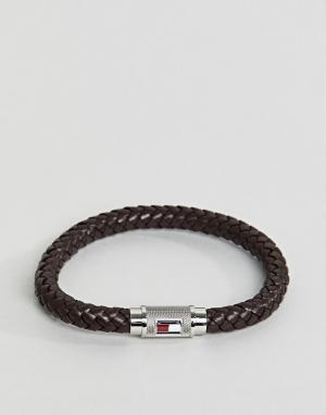 Tommy Hilfiger Коричневый браслет с цилиндрической отделкой. Цвет: коричневый