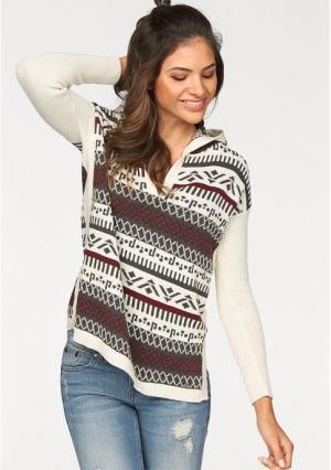 Пуловер AJC. Цвет: экрю/бордовый/серый
