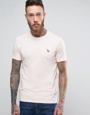 PS by Paul Smith Розовая узкая футболка с логотипом. Цвет: розовый