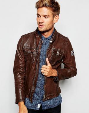 Pepe Heritage Кожаная байкерская куртка на молнии Guzzi. Цвет: коричневый