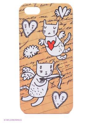 Чехол для IPhone 5 Коты-амуры Mitya Veselkov. Цвет: бежевый