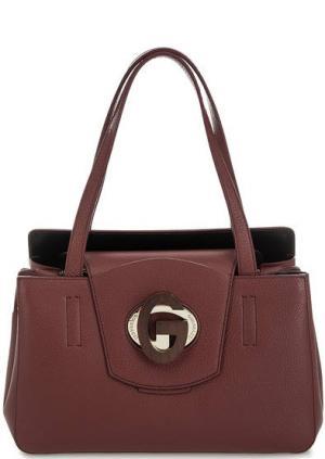 Кожаная сумка с откидным клапаном Gironacci. Цвет: бордовый