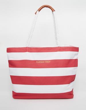 Thursday Friday Парусиновая пляжная сумка в полоску. Цвет: красный