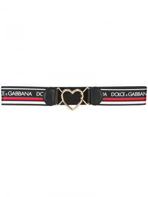 Ремень с пряжкой в форме сердца и логотипом Dolce & Gabbana. Цвет: чёрный