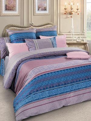 Комплект постельного белья, сатин, дуэт Letto. Цвет: сиреневый, розовый, синий