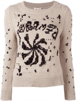 Декорированный джемпер с круглым вырезом Marc Jacobs. Цвет: телесный