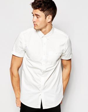 Jack Wills Поплиновая классическая рубашка с короткими рукавами. Цвет: белый
