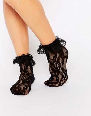 Leg Avenue Кружевные носки с оборками. Цвет: черный