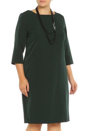Платье, бусы Piena. Цвет: темно-зеленый