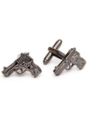 Запонки оружие - пистолет Churchill accessories. Цвет: серебристый