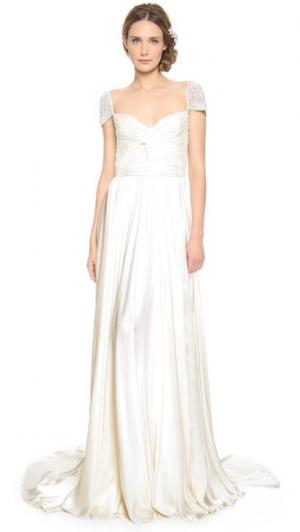 Вечернее платье с перекрученным передом и рукавами драгоценными камнями Reem Acra. Цвет: золотой