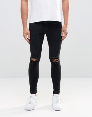 Dr Denim Черные супероблегающие джинсы с рваной отделкой Dixy. Цвет: черный