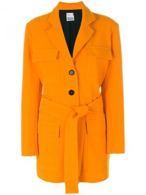 Four pocket coat with belt Arthur Arbesser. Цвет: жёлтый и оранжевый