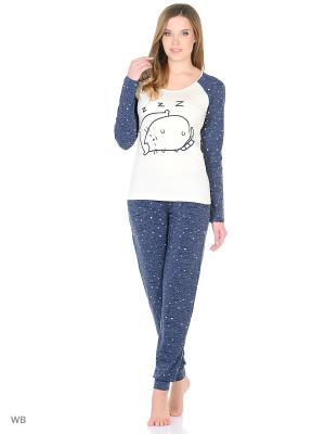 Пижама женская NICOLETTA. Цвет: кремовый, индиго