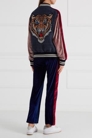 Бархатные брюки синие Forte Couture. Цвет: синий