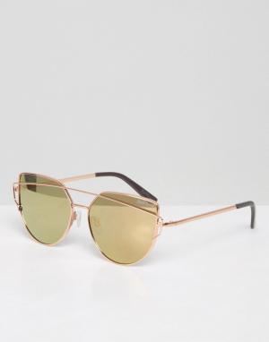 Black Phoenix Солнцезащитные очки с зеркальными стеклами. Цвет: кремовый