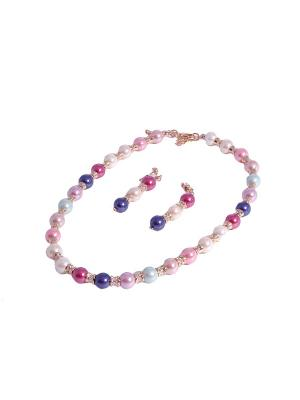 Комплект: ожерелье и серьги White Daisy. Цвет: синий