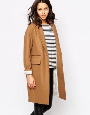 Sessun Длинное светло-коричневое пальто Harry. Цвет: коричневый