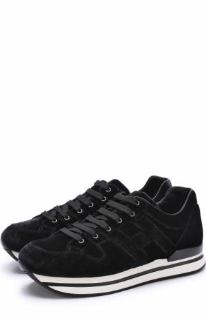 Бархатные кроссовки на шнуровке Hogan. Цвет: черный