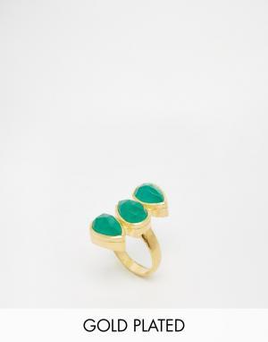 Taara Jewellery Кольцо с позолотой 22 карата и зеленым ониксом. Цвет: green onyx