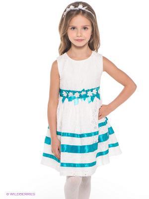 Платье Baby Steen. Цвет: белый, бирюзовый