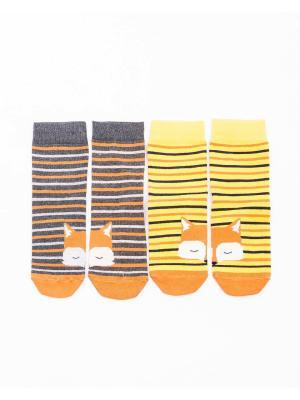 Носки, 2 пары Mark Formelle. Цвет: серый, оранжевый, желтый, белый