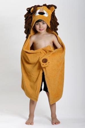Бежевое детское полотенце с капюшоном Zoocchini. Цвет: multicolor