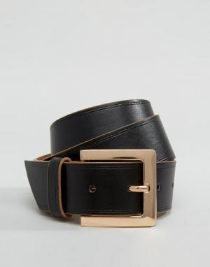 ASOS Ремень для джинсов с контрастной кромкой. Цвет: черный